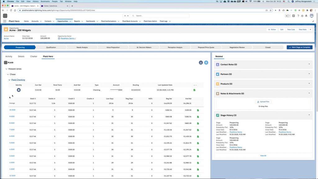 Plaid's Salesforce integration features